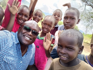 Hillary with the Children of Samburu Montessori
